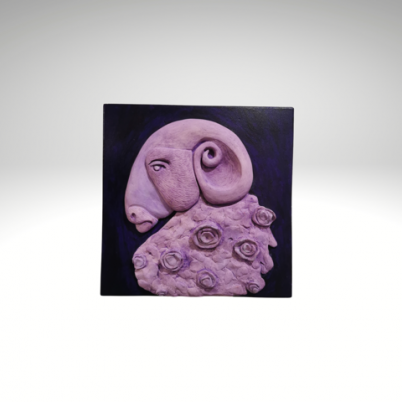 ram with flowers wall sculpture
